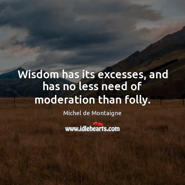 Wisdom has its excesses, and has no less need of moderation than folly. Michel de Montaigne Picture Quote