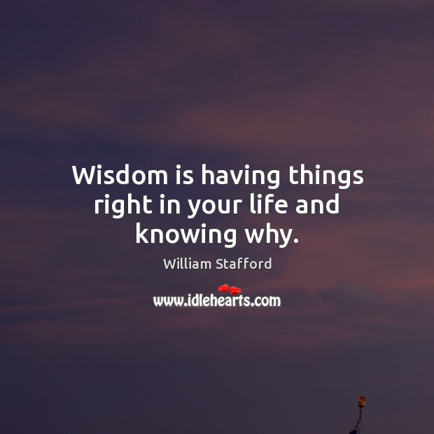 Image, Wisdom is having things right in your life and knowing why.