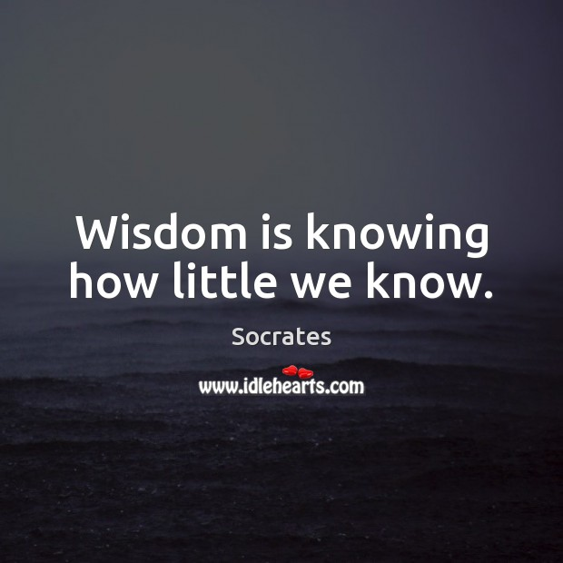 Image, Wisdom is knowing how little we know.