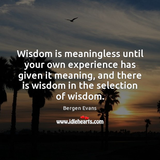 Image, Wisdom is meaningless until your own experience has given it meaning, and
