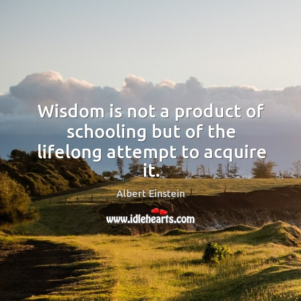 Image, Wisdom is not a product of schooling but of the lifelong attempt to acquire it.
