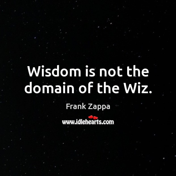 Wisdom is not the domain of the Wiz. Image