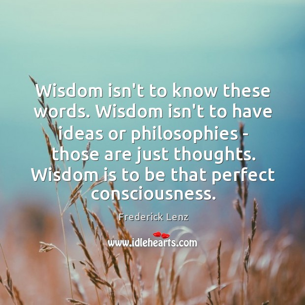 Image, Wisdom isn't to know these words. Wisdom isn't to have ideas or