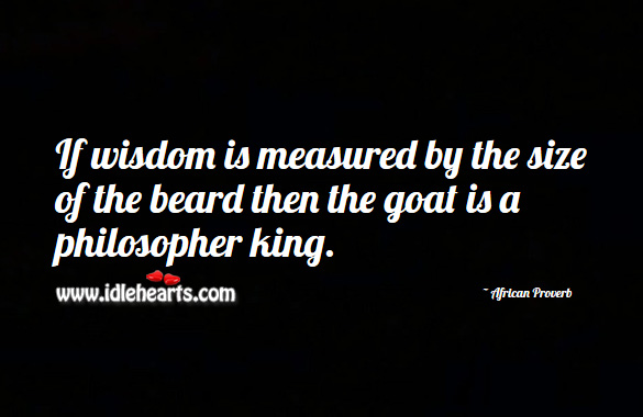 Image, If wisdom is measured by the size of the beard then the goat is a philosopher king.