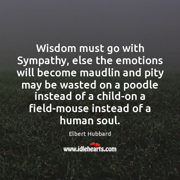 Image, Wisdom must go with Sympathy, else the emotions will become maudlin and