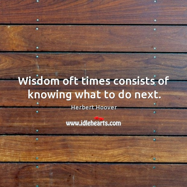 Image, Wisdom oft times consists of knowing what to do next.