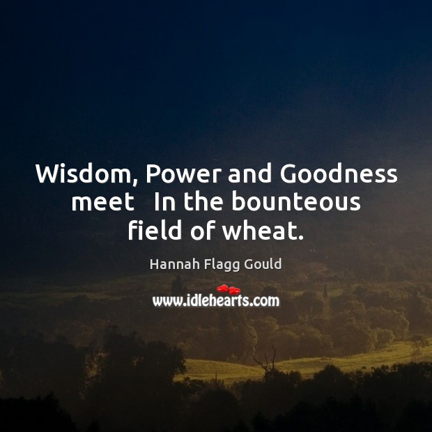 Wisdom, Power and Goodness meet   In the bounteous field of wheat. Image