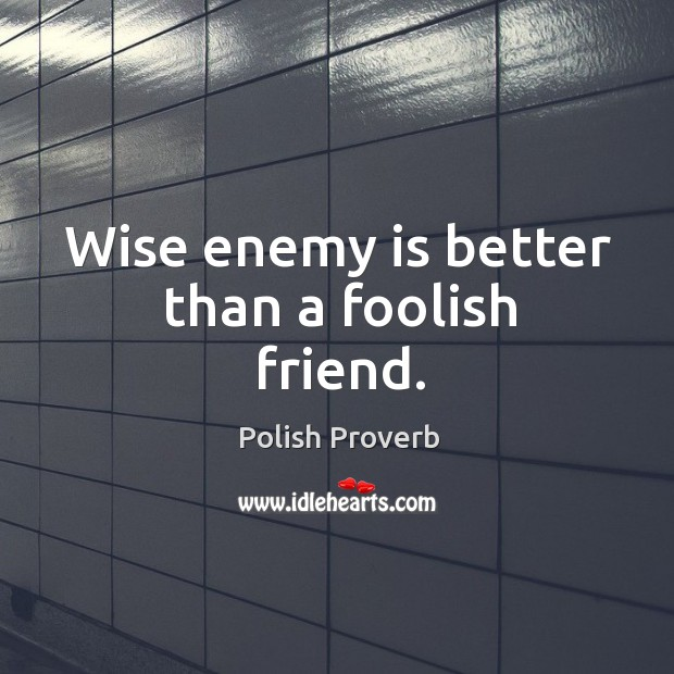 Wise enemy is better than a foolish friend. Image