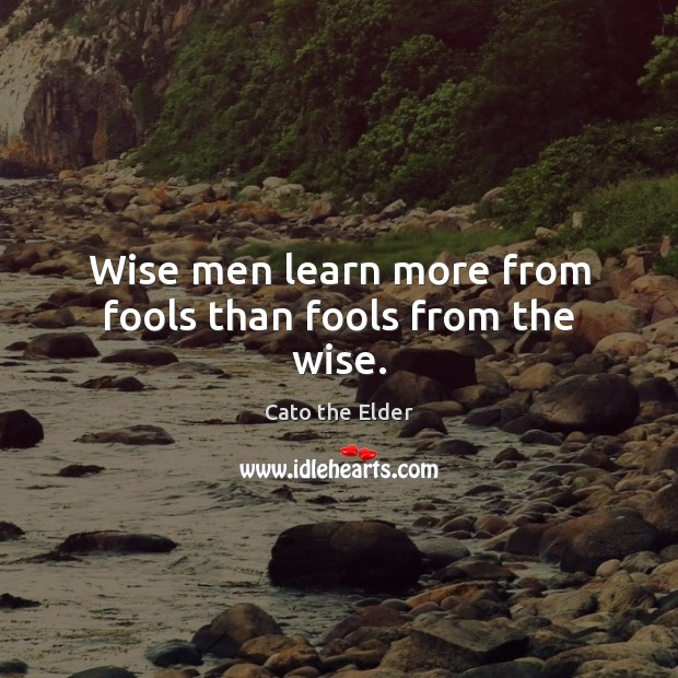 Image, Wise men learn more from fools than fools from the wise.