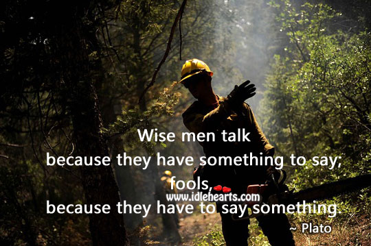 Fools talk because they have to say something Image