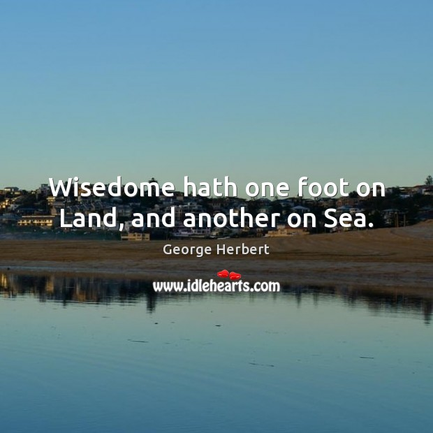 Wisedome hath one foot on Land, and another on Sea. Image