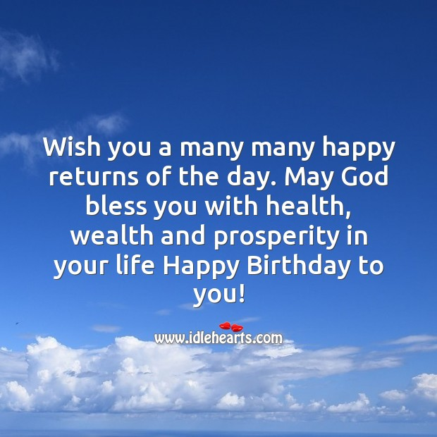 Wish you a many many happy returns of the day. Birthday Quotes Image