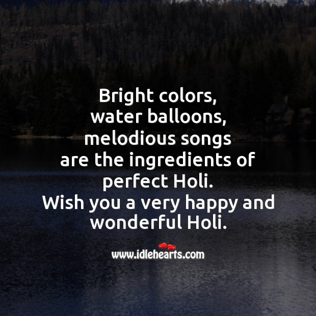 Wish you a very happy and wonderful holi. Holi Messages Image