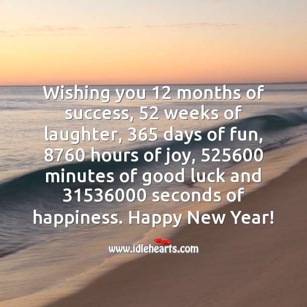 Wishing you 12 months of success, 52 weeks of laughter, 365 days of fun Happy New Year Messages Image