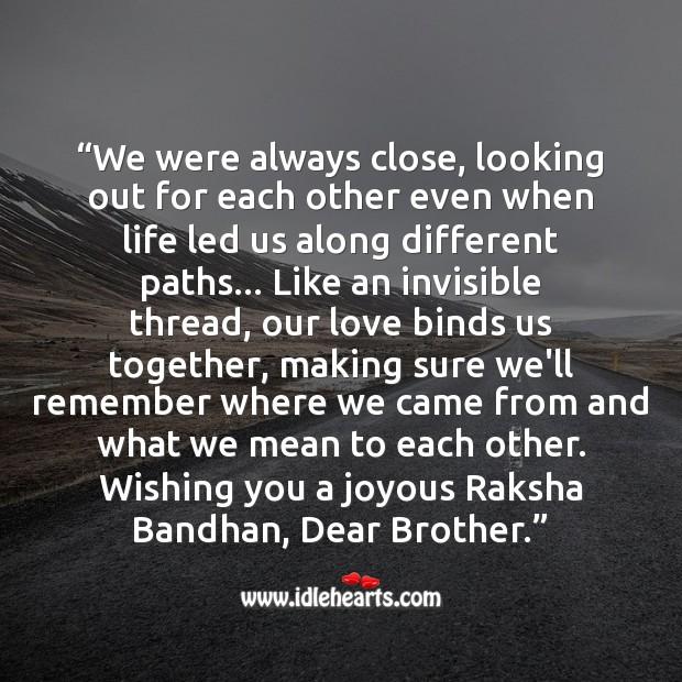 Wishing you a joyous raksha bandhan, dear brother. Raksha Bandhan Quotes Image