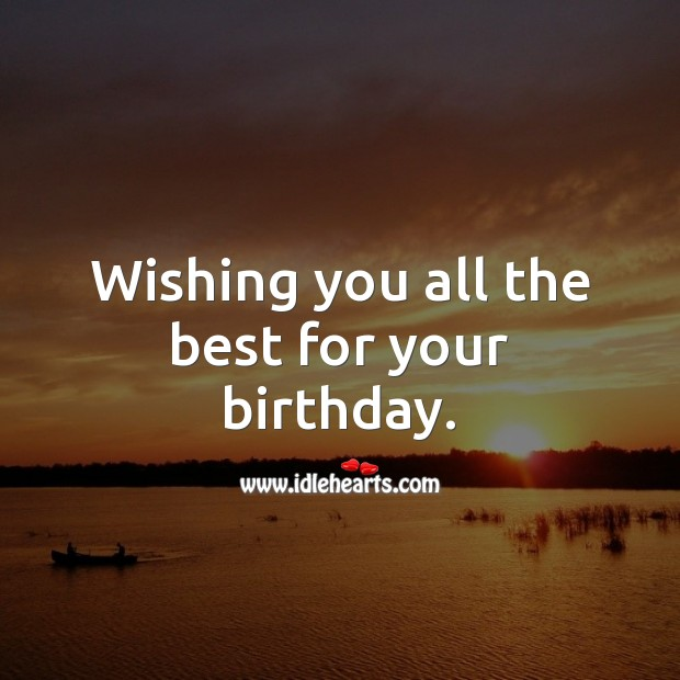 Wishing you all the best for your birthday. Happy Birthday Wishes Image