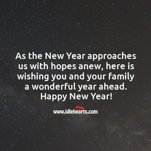 Image, Wishing you and your family a wonderful year ahead.