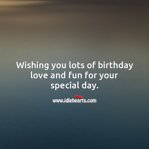 Wishing you lots of birthday love and fun for your special day. Happy Birthday Wishes Image