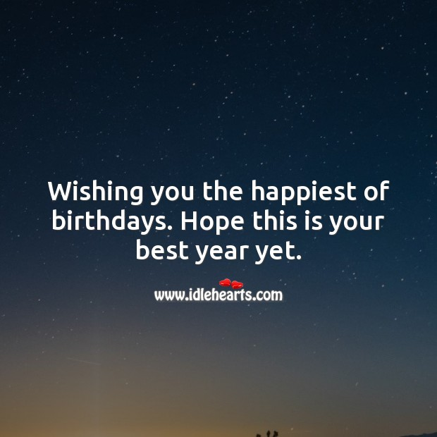 Wishing you the happiest of birthdays. Hope this is your best year yet. Happy Birthday Messages Image
