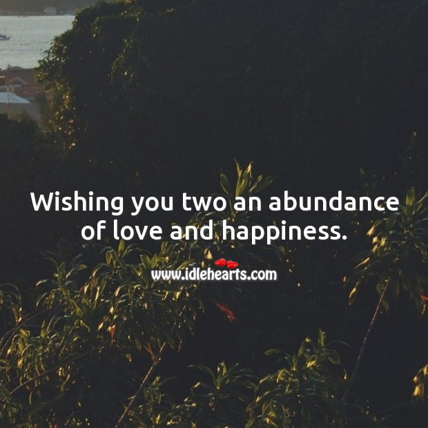 Wishing you two an abundance of love and happiness. Wedding Messages Image