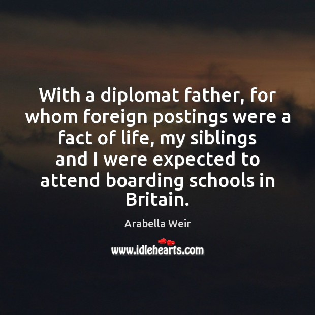 With a diplomat father, for whom foreign postings were a fact of Image