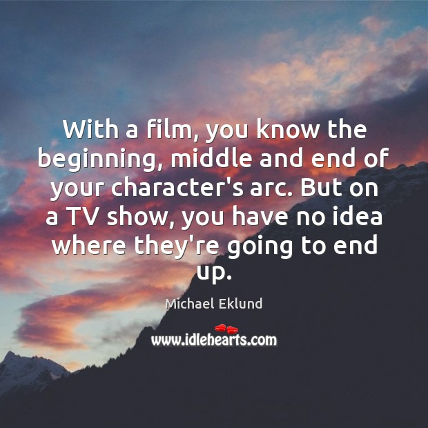 With a film, you know the beginning, middle and end of your Image