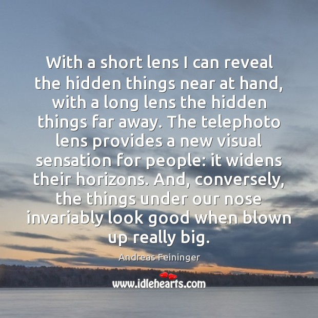 With a short lens I can reveal the hidden things near at Hidden Quotes Image