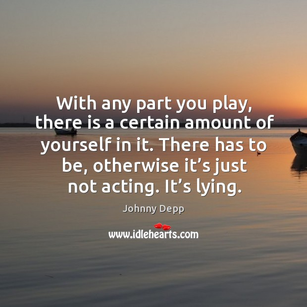 Image, With any part you play, there is a certain amount of yourself in it.