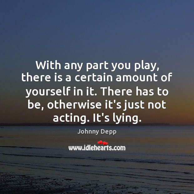 With any part you play, there is a certain amount of yourself Johnny Depp Picture Quote