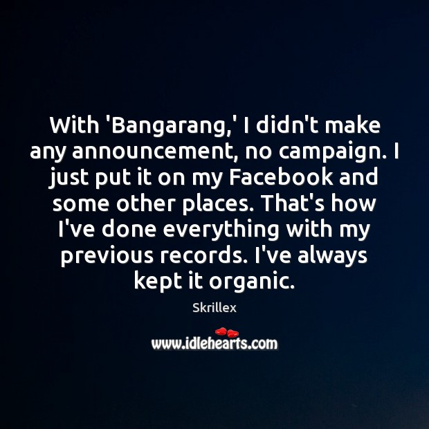 With 'Bangarang,' I didn't make any announcement, no campaign. I just Image