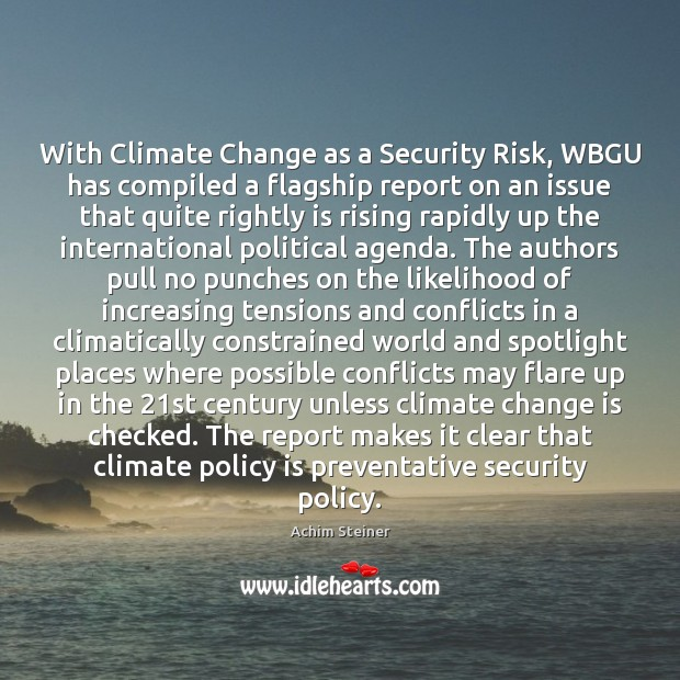 Image, With Climate Change as a Security Risk, WBGU has compiled a flagship