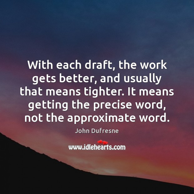 With each draft, the work gets better, and usually that means tighter. Image