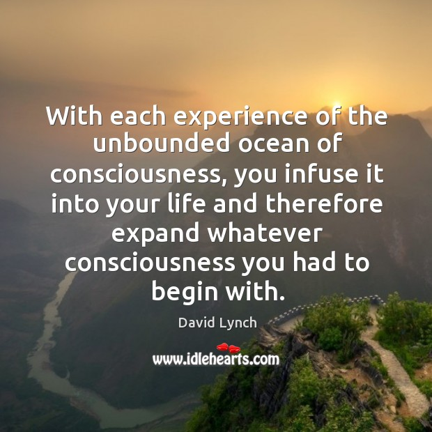 With each experience of the unbounded ocean of consciousness, you infuse it Image