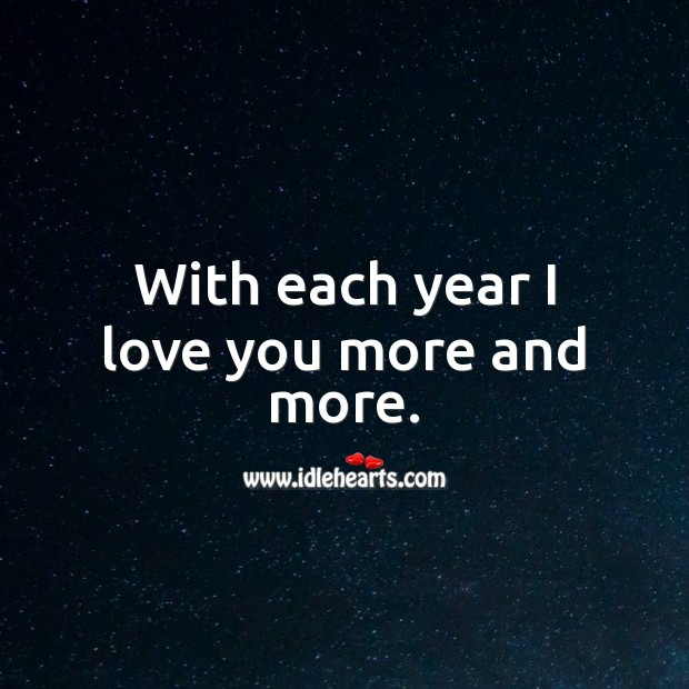With each year I love you more and more. Birthday Love Messages Image