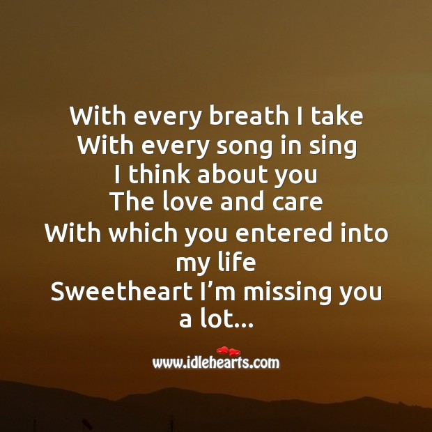 With every breath I take Missing You Quotes Image