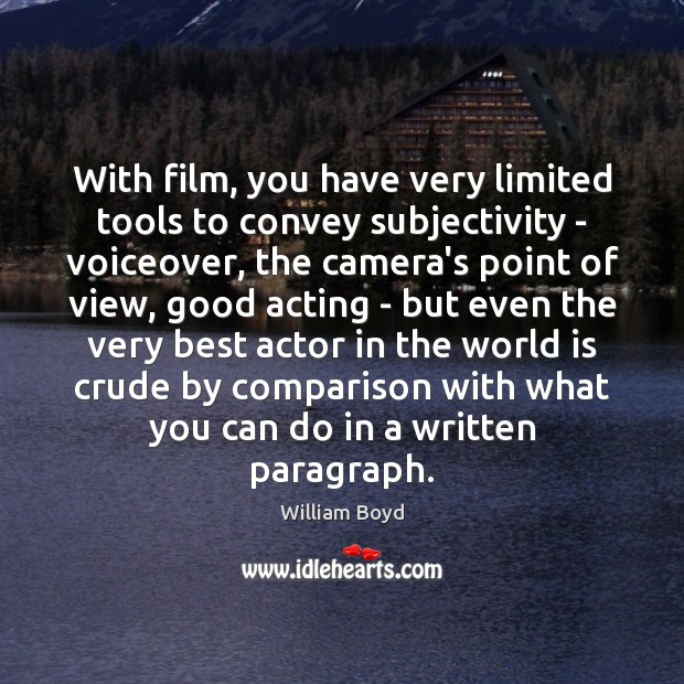With film, you have very limited tools to convey subjectivity – voiceover, Comparison Quotes Image