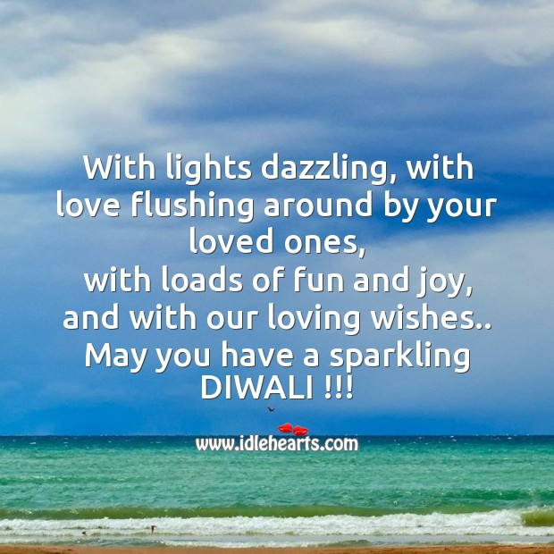 With lights dazzling, with love flushing Diwali Messages Image