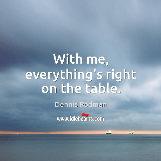 With me, everything's right on the table. Image