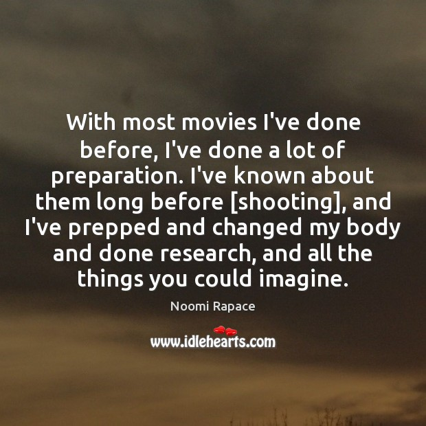 With most movies I've done before, I've done a lot of preparation. Image
