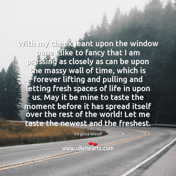 With my cheek leant upon the window pane I like to fancy Image