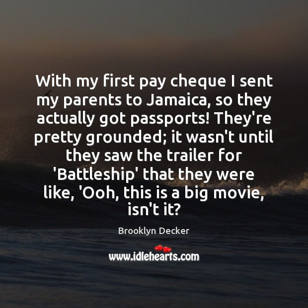 Image, With my first pay cheque I sent my parents to Jamaica, so