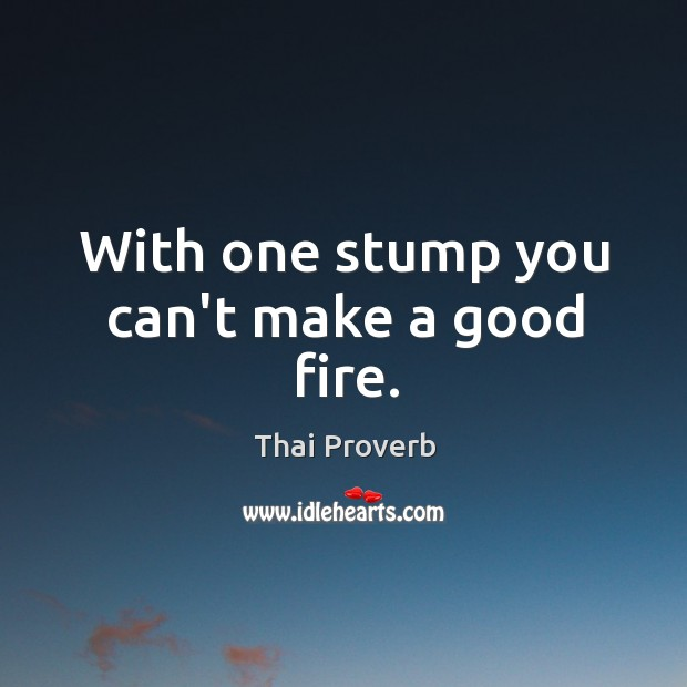 With one stump you can't make a good fire. Thai Proverbs Image