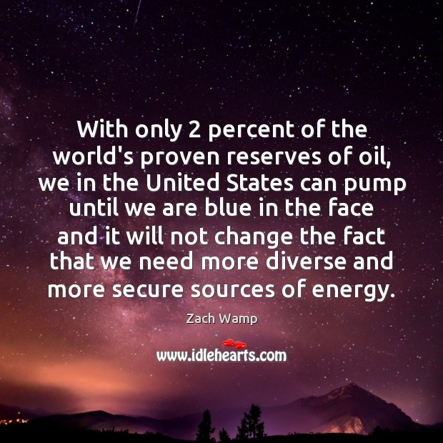 With only 2 percent of the world's proven reserves of oil, we in Image