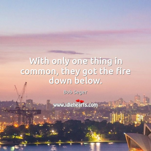 With only one thing in common, they got the fire down below. Bob Seger Picture Quote
