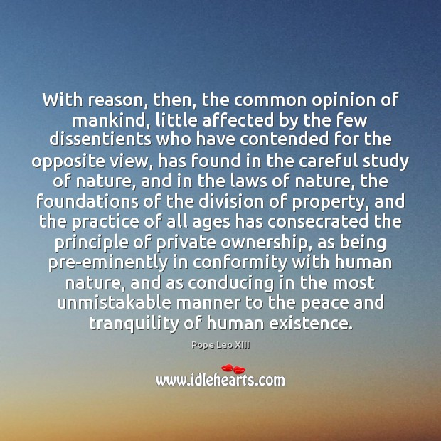 With reason, then, the common opinion of mankind, little affected by the Image