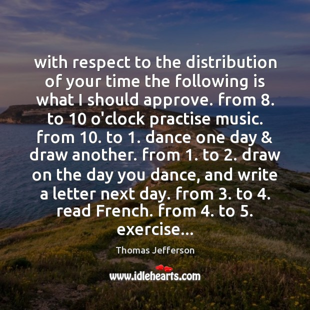 With respect to the distribution of your time the following is what Thomas Jefferson Picture Quote