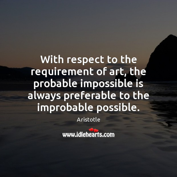 Image, With respect to the requirement of art, the probable impossible is always