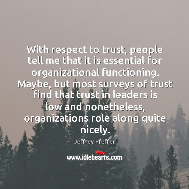 With respect to trust, people tell me that it is essential for Jeffrey Pfeffer Picture Quote