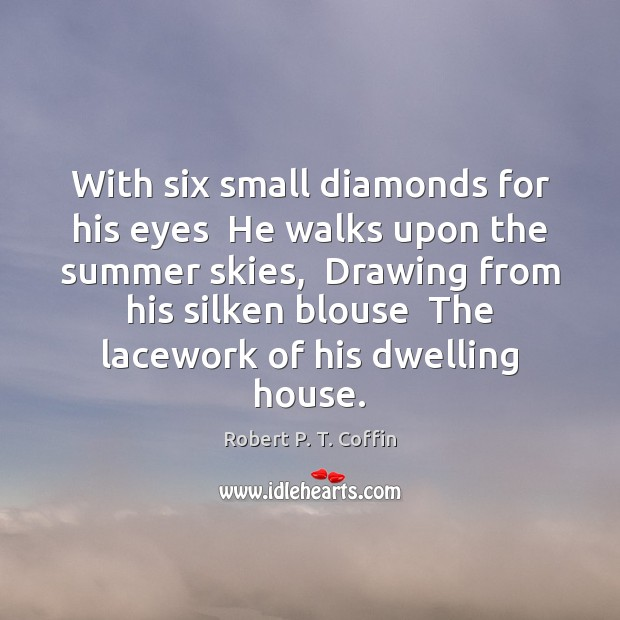 With six small diamonds for his eyes  He walks upon the summer Image