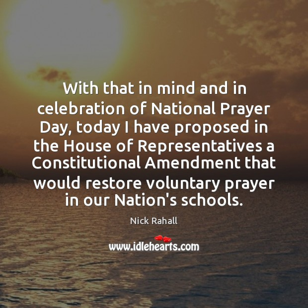 With that in mind and in celebration of National Prayer Day, today Image